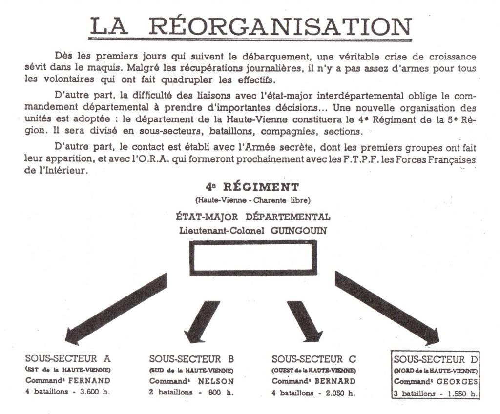 La réorganisation.